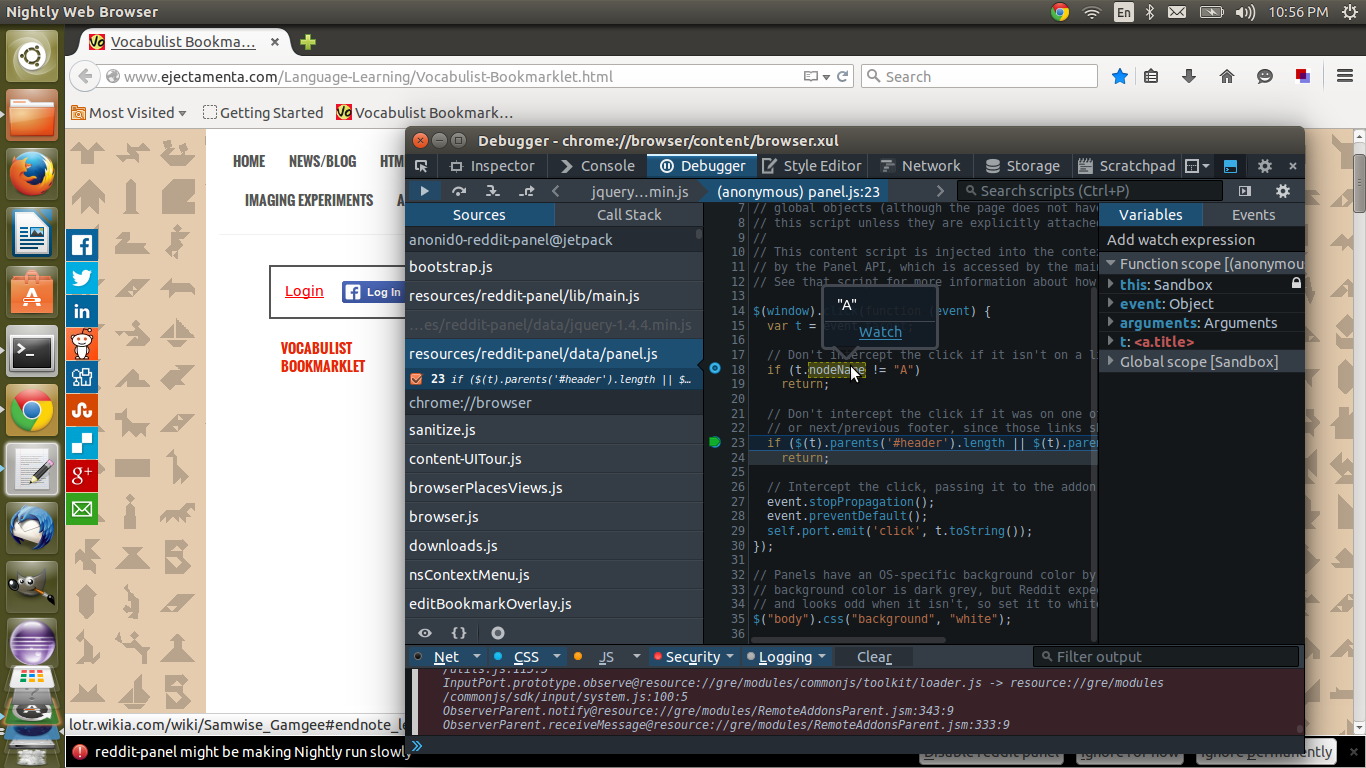 debugging the reddit panel extension in firefox nightly
